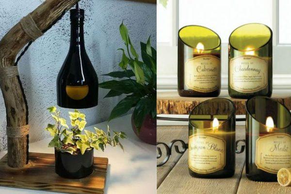 Decoração: Aproveitando garrafas de vinho vazias