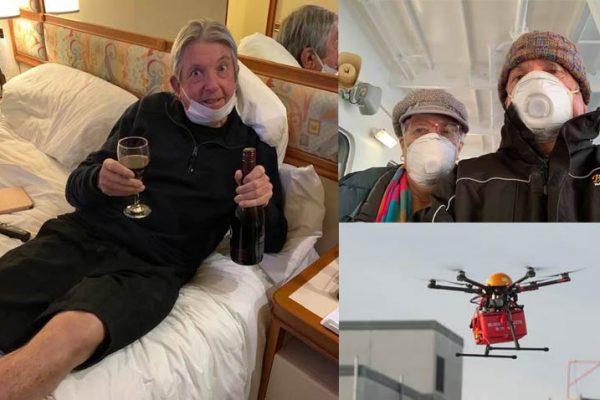 Drone entrega vinhos para casal que está no cruzeiro em quarentena por coronavírus