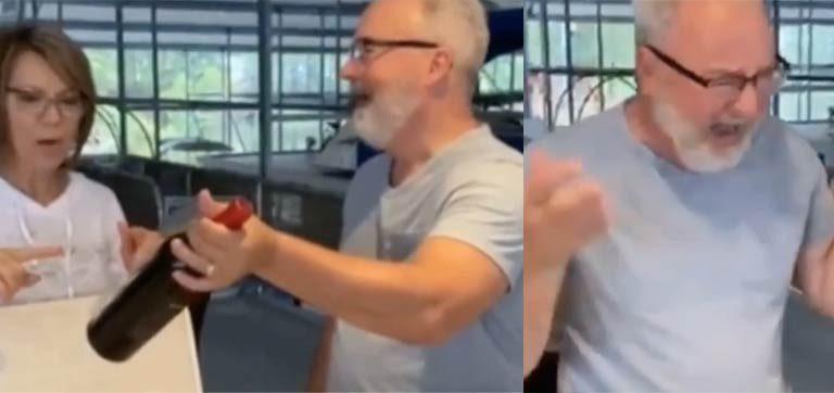 Este pai pensava que estava apenas recebendo um vinho, mas o rótulo informava algo especial…